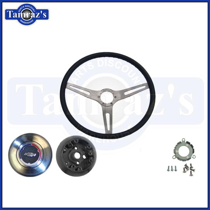 65-66 Impala 2 Spoke Steering Wheel with Metal Horn Ring BLACK OER New 9741875