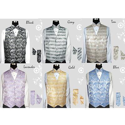 Herren Smoking Weste Set 4 Pieces: Weste Fliege Krawatte und Taschentuch Design