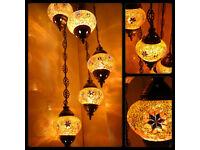 Amazing Turkish Moroccan Tiffany Style Glass Mosaic Chandelier 3 Bulb