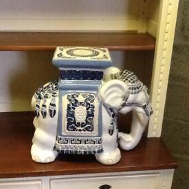 Large Blue and White Elephant