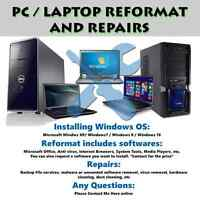 PC / LAPTOP REFORMAT AND REPAIRS