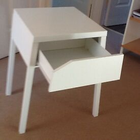White metal bedside table with one drawer. £10.00 35cm l X 37cm d X 56cm h