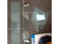 Glass shelves with some mounting brackets - Job lot £3