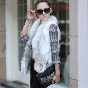 100% Real Rabbit Fur Vest Raccoon Trim Collar Gilet Coat Jacket Grey Jacket