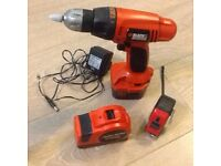 Black and decker drill and measuring tape