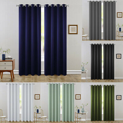 2 Panels Blackout Window Curtains Room Darken Thermal Insulated Drapes Grommet Panel Thermal Insulated Polyester Curtains