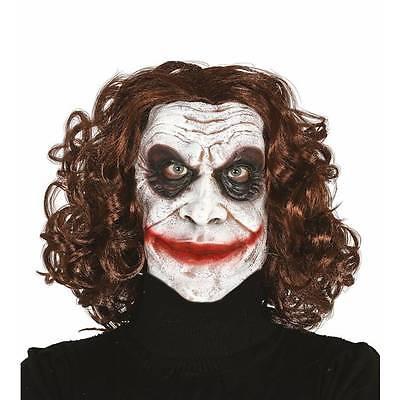 Joker Maske & Haare Hofnarr Killer Clown Dunkler Ritter Halloween - Kostüm Dunkle Haare