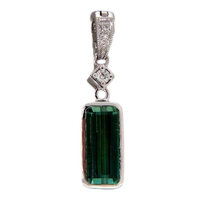 Vintage 1.34ct Tourmaline .06ct Diamond Pendant Enhancer 14k white gold