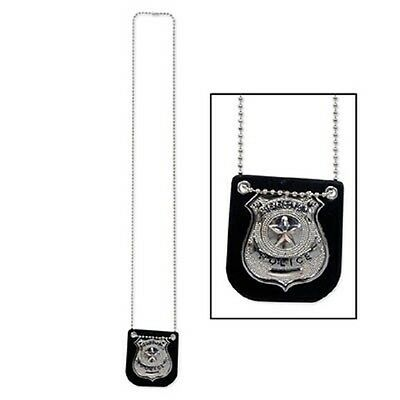 Metal Police Badge Necklace Costume Prop Birthday 20's Murder Mystery CSI Party