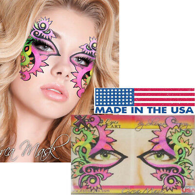 Neon Mardi Gras Rave Face Mask Glitter Easy Reusable Sticker Eye Makeup Set USA
