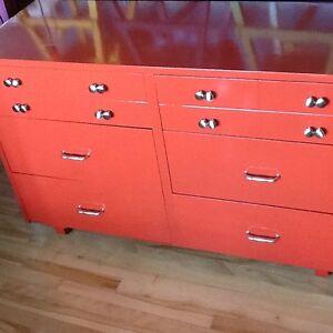 Red long wood dresser