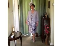 Wedding outfit Jacques vert. Dress /jacket/hat/bag. Platinum with purple spray on dress size 14/16