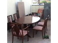Solid mahogany table with six chairs