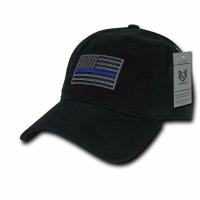 Thin Blue Line Black Ball Cap Velcro American Flag Patch Police OperatorTactical Police Ball Cap