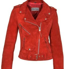 Red leather ladies jacket