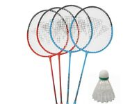 Badminton set with rackets shuttle cocks net and pegs