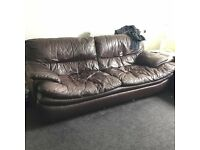 3&2 BROWN LAZY LEATHER COUCHES FREE