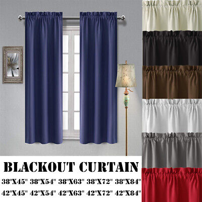 2 Panels Blackout Curtain Room Darkening Curtains Rod Pocket Thermal Insulated Panel Thermal Insulated Polyester Curtains