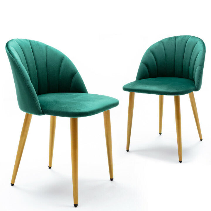 Set of 2 Velvet Dining Chair Modern Side Upholstered Chair with Metal Legs Green