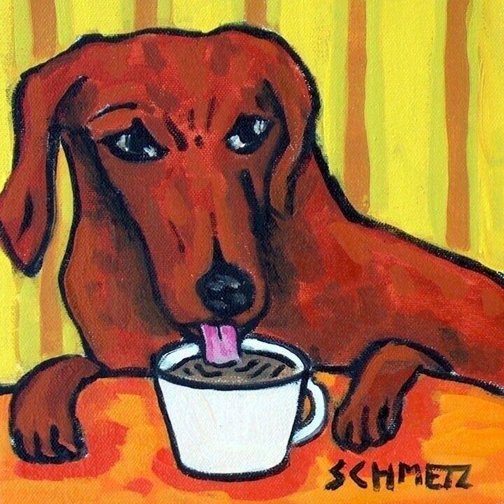 black and tan dachshund  coffee animal dog art  tile ceramic modern artist