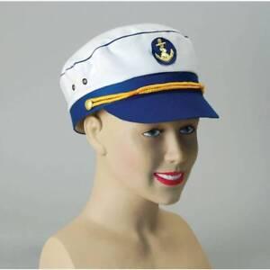 BLUE SAILOR CAPTAIN HAT/CAP NAUTICAL MARINE NAVY FANCY DRESS