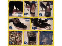 Shoes size 6 and hand bags