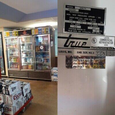True Gdm-72 3 Glass Door Refrigerator Beverage Cooler Display Case