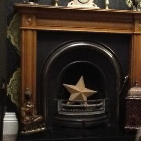 Cast iron open fire including surround and hearth