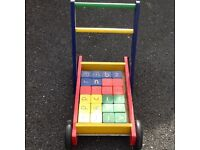 Baby walker with ABC and number blocks