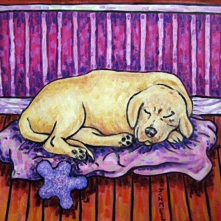 Golden Retriever art at the wine bar dog artwork tile coaster gift