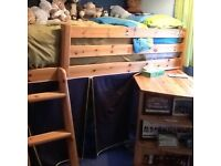 Cabin bed with pull out desk, skirt around bottom to make den underneath,