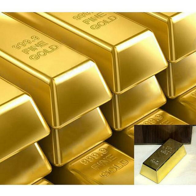 Creative 1kg 35oz Gold Bar Bullion Door Stop Paperweight Heavy Brick H