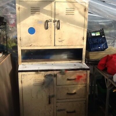 Vintage Industrial Aluminium Cabinet + Draw Retro  Storage Furniture Workshop