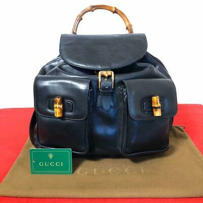 GUCCI BAMBOO BLACK BACKPACK LADIES VINTAGE GENUINE RARE FREE SHIPPING FROM JAPAN