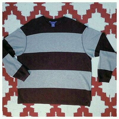 Gently Worn Burgundy & Gray Rugby Stripe Long Sleeve Crew Neck Size XL Hunt (Hunting Rugby)