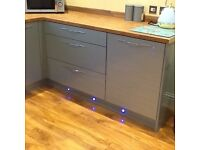 "Kitchen cabinets new still boxed, still selling in wicks Make ""Esker AZR"" High Gloss Duck Egg Blue"
