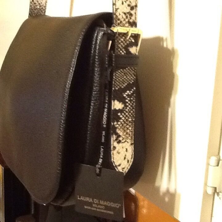 Laura Di Maggio Crossbody Italy Milano Black Pebbled Leather NEW Shoulder Bag