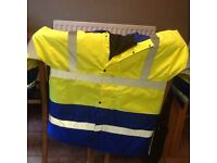 Winter high vis coats and work gloves