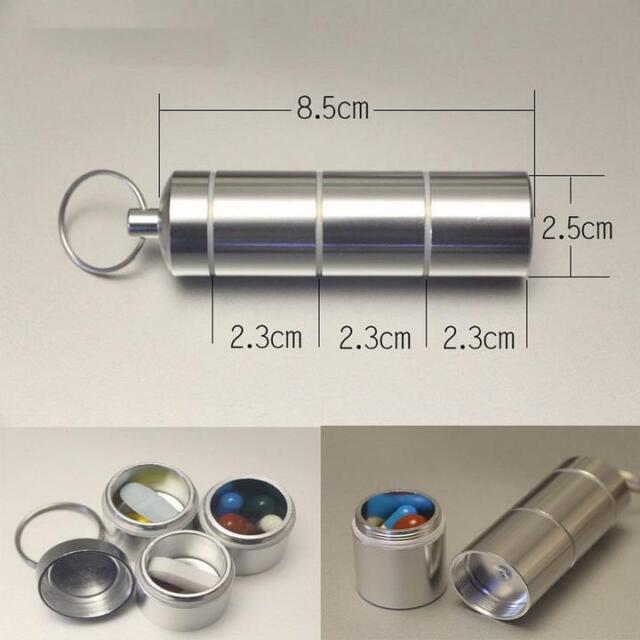 EDC Outdoor Aluminum Waterproof Storage Capsule Pill Case Box Container L