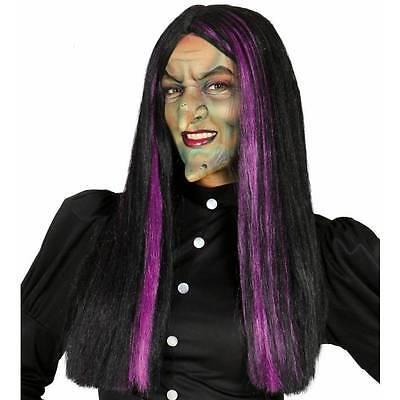 Hexe Perücke Violett & Schwarz Hexen Damen Halloween Gothik Verkleidung
