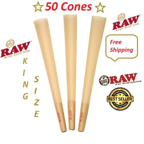 Authentic Raw King Size Cones W/Filter tips pre rolled (50 CONES) Free shipping