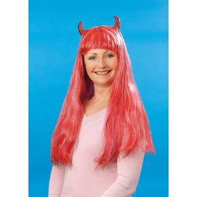 Verkauf Damen Roter Teufel Perücke mit Hörner Lametta Halloween ()