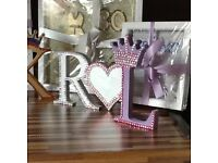 Craft items frames and letters with gems leftover order suitable for car boot sale