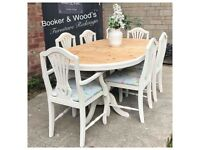 Stunning extending pine table & chairs
