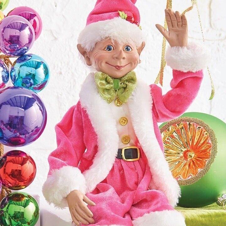 "RAZ Imports 19"" Posable Elf Pink Lime Green Christmas NEW"