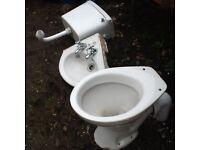 Cloak room toilet and corner hand wash basin