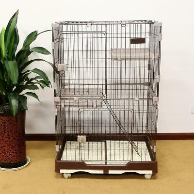 "48.4""H Folding Cat Cage 2-Door Collapsible Pet Wire Crate w/ Rest Benches & Tray"