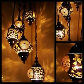 Amazing Turkish Moroccan Tiffany Style Glass Mosaic Chandelier 3 Bulb