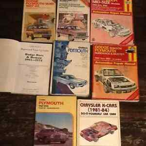 Dodge, Plymouth, Chrysler, fury,demon,dart,van,k car shop manual