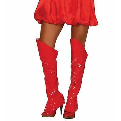 Rot Stiefelstulpe Powerfrau Wonder Woman Überschuhe 60's Jahre Go Go Kostüm